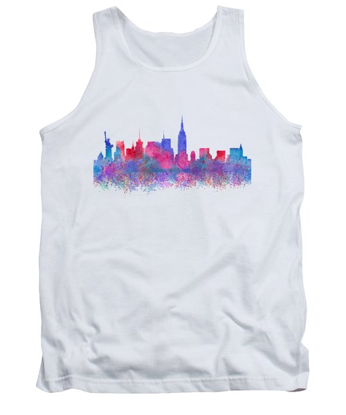 Tank Top featuring the digital art Watercolour Splashes New York City Skylines by Georgeta Blanaru