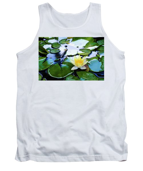 Waterlilly On Blue Pond Tank Top