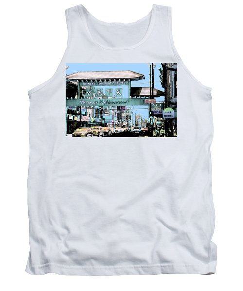 Welcome To Chinatown Sign Blue Tank Top by Marianne Dow