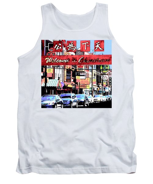 Welcome To Chinatown Sign Red Tank Top