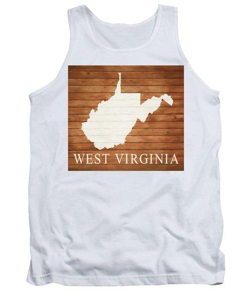 West Virginia Rustic Map On Wood Tank Top
