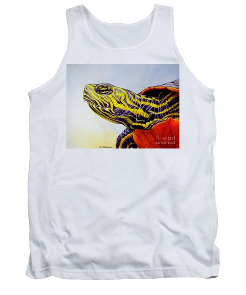 Tank Top featuring the drawing Western Painted Turtle by Christopher Shellhammer