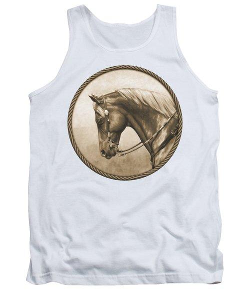 Western Pleasure Quarter Horse In Sepia Tank Top