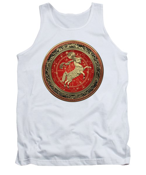 Western Zodiac - Golden Aries -the Ram On White Leather Tank Top