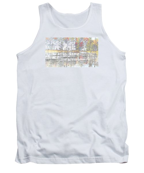 Wetland Reflections Abstract Tank Top by Mike Breau