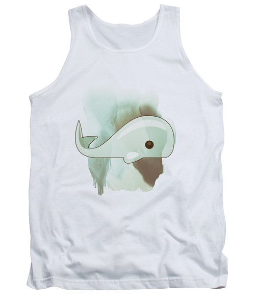 Whale Art - Bright Ocean Life Pastel Color Artwork Tank Top by Wall Art Prints