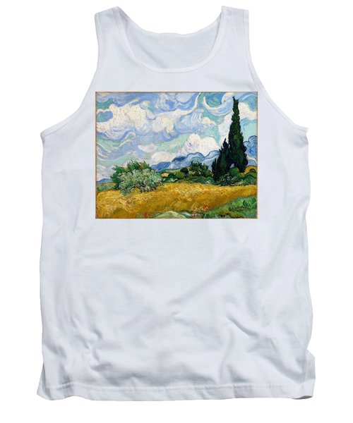 Tank Top featuring the painting Wheatfield With Cypresses by Van Gogh