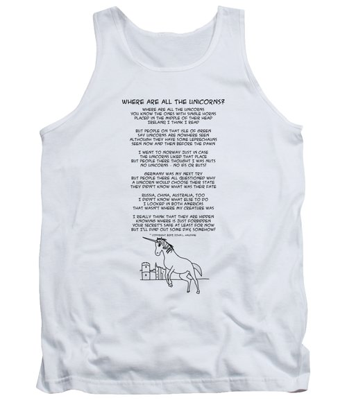 Tank Top featuring the drawing Where Are All The Unicorns by John Haldane
