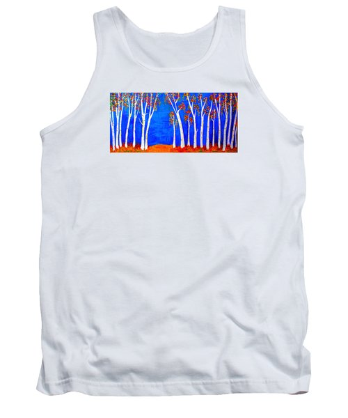 Tank Top featuring the painting Whimsical Birch Trees by Haleh Mahbod