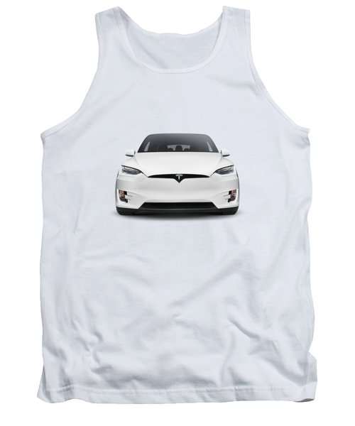 White 2017 Tesla Model X Luxury Suv Electric Car Front Isolated Art Photo Print Tank Top