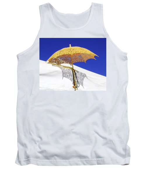 White At Base And Yellow On Blue Tank Top