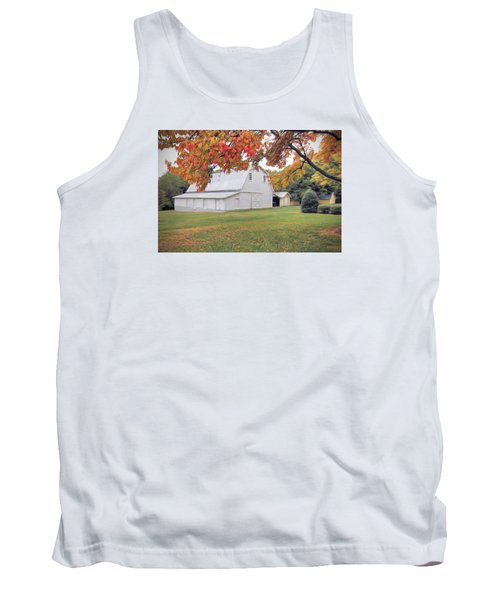 White Barn In Autumn Tank Top by Marion Johnson