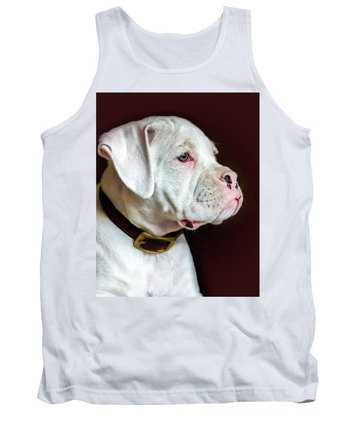 Tank Top featuring the photograph White Boxer Portrait by Dawn Romine