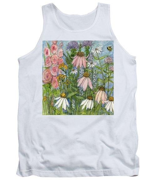 White Coneflowers In Garden Tank Top