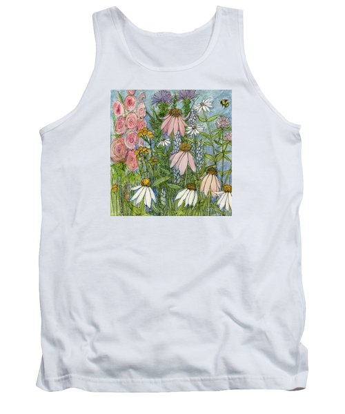 White Coneflowers In Garden Tank Top