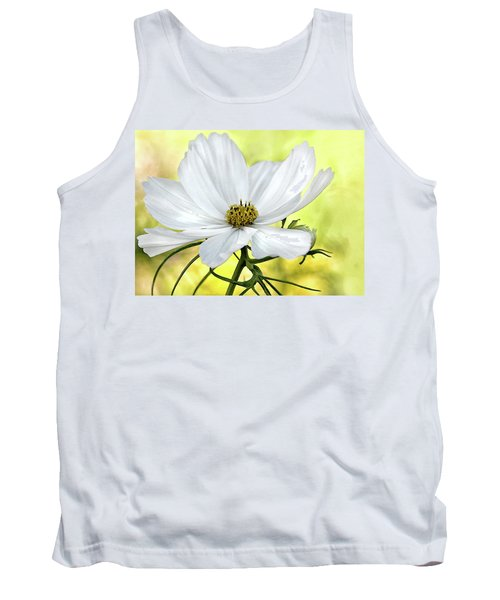White Cosmos Floral Tank Top