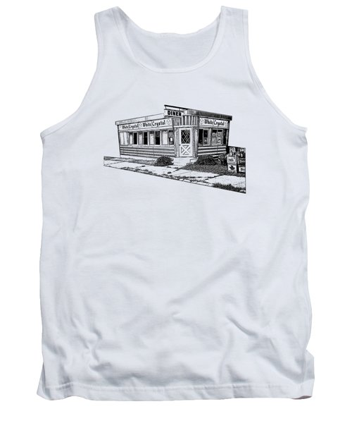 Tank Top featuring the drawing White Crystal Diner Nj Sketch by Edward Fielding