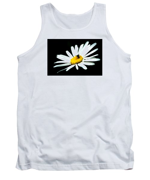 Tank Top featuring the photograph White Daisy Flower And A Fly by Alexander Senin