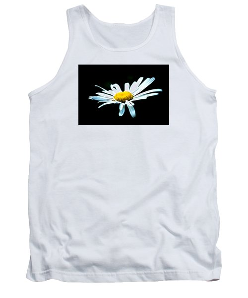 Tank Top featuring the photograph White Daisy Flower Black Background by Alexander Senin