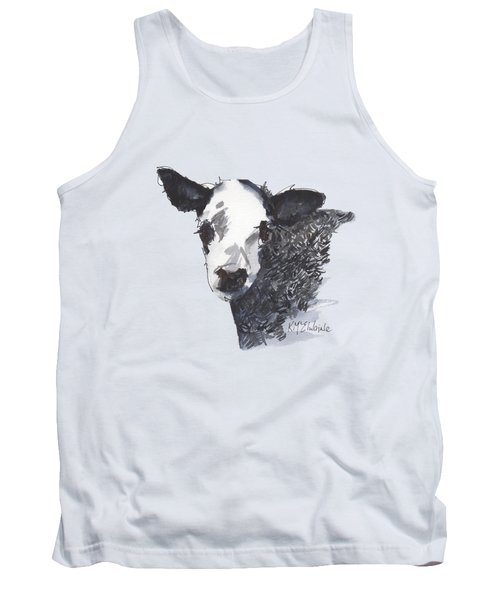 White Faced Hereferd Calf Baby Cow Tank Top by Kathleen McElwaine