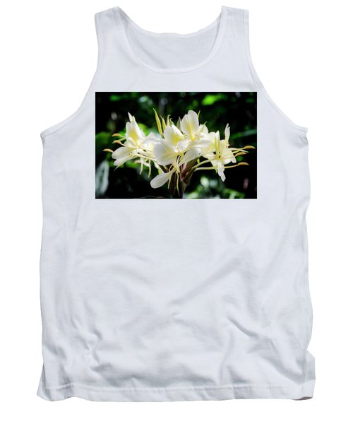 White Hawaiian Flowers Tank Top