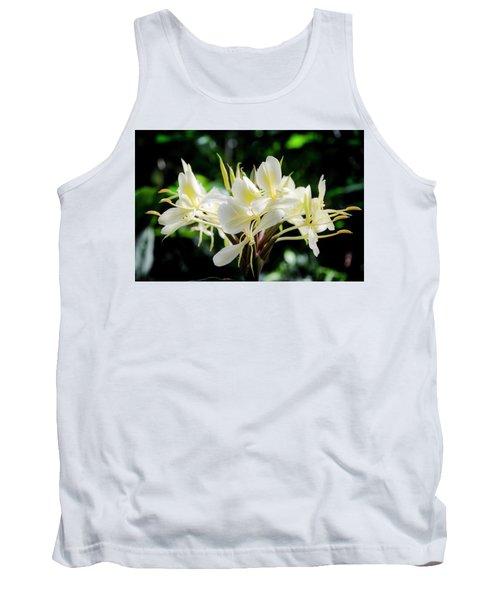 White Hawaiian Flowers Tank Top