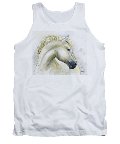 White Horse Watercolor Tank Top