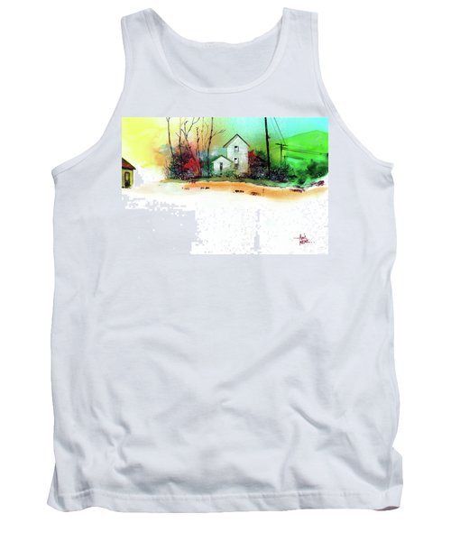 White Houses Tank Top by Anil Nene