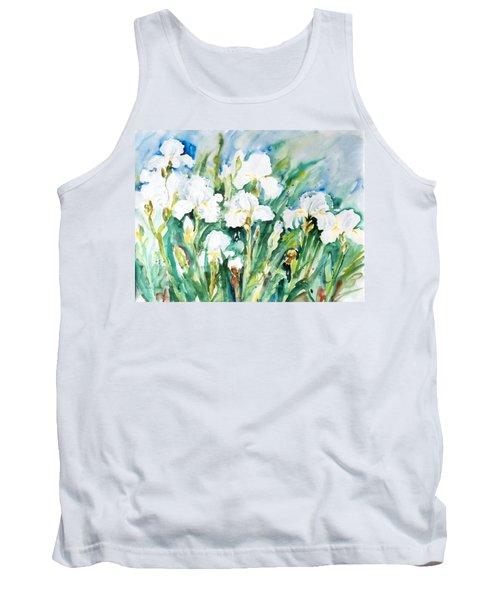 White Irises Tank Top by Alexandra Maria Ethlyn Cheshire