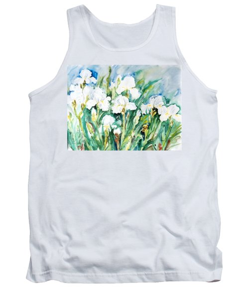 White Irises Tank Top