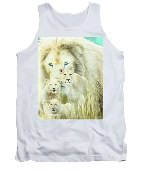 Tank Top featuring the mixed media White Lion Family - Forever by Carol Cavalaris