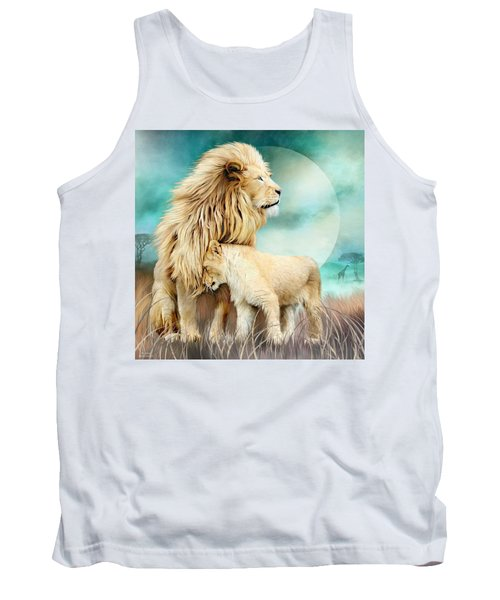 Tank Top featuring the mixed media White Lion Family - Protection by Carol Cavalaris