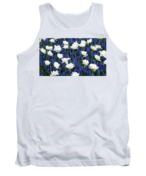 White On Blue Tank Top