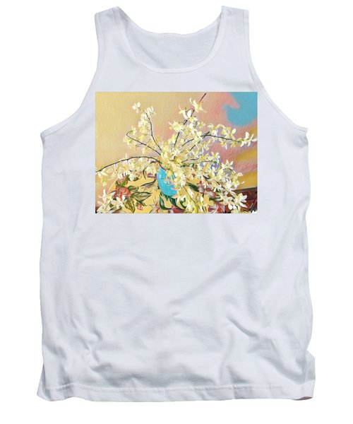 White Orchid Bouquet Pink/blue Tank Top