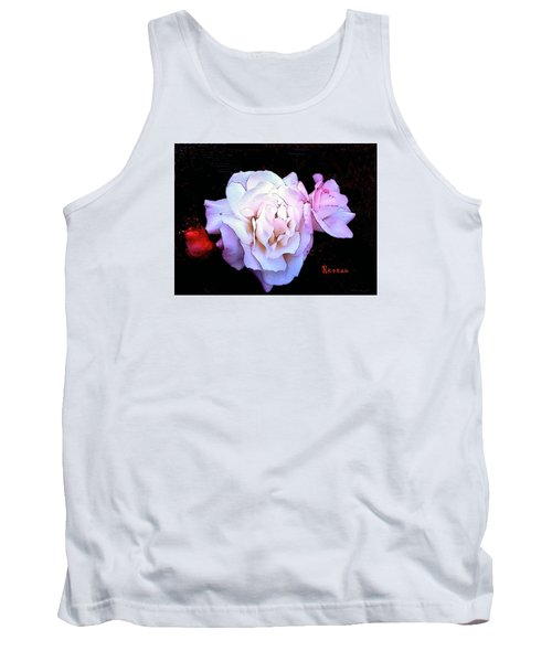Tank Top featuring the photograph White - Pink Roses by Sadie Reneau