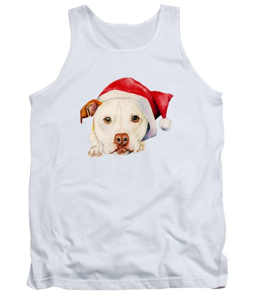 White Pit Bull Terrier Dog With Santa Hat Portrait Tank Top