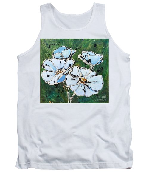 White Poppies Tank Top by Phyllis Howard