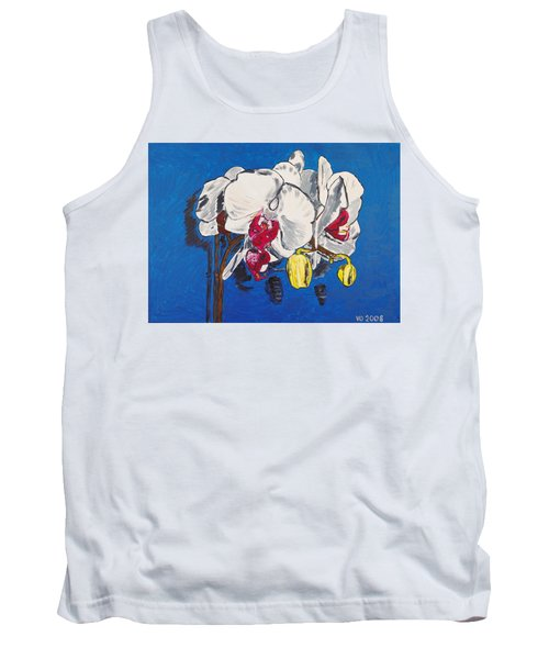 White Purple Phalaenopsis Orchids Tank Top by Valerie Ornstein