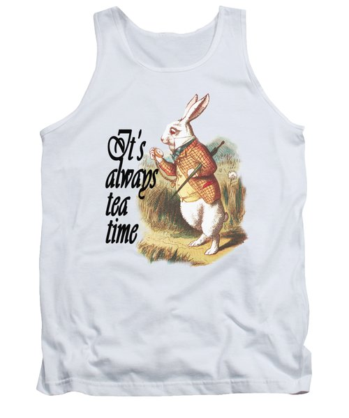 White Rabbit Alice In Wonderland Vintage Art Tank Top