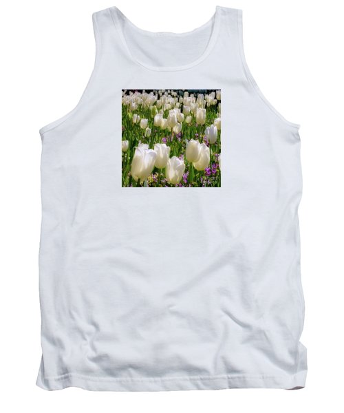 White Tulips In Bloom Tank Top