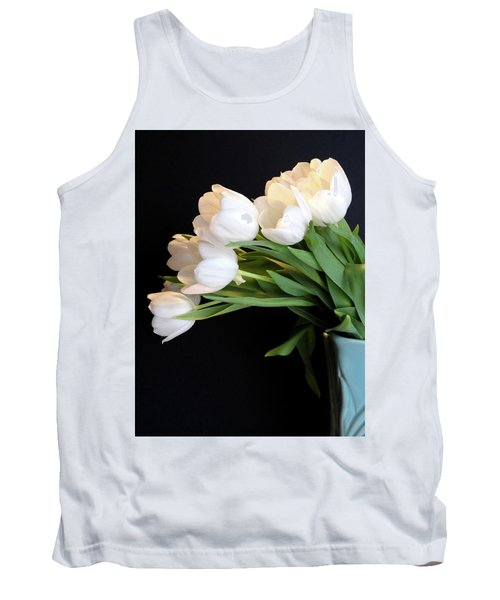 White Tulips In Blue Vase Tank Top by Julia Wilcox