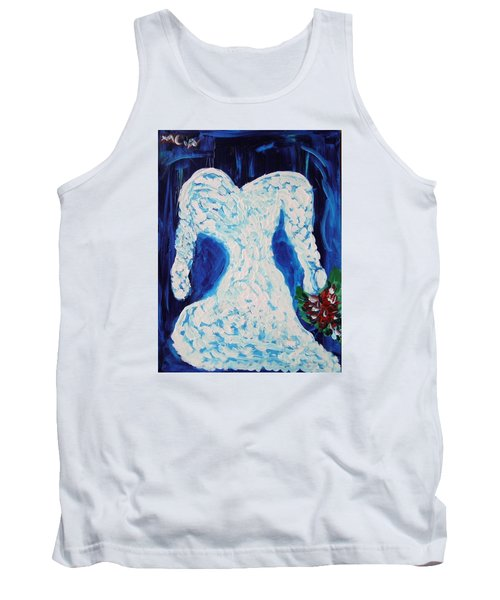 White Wedding Dress On Blue Tank Top by Mary Carol Williams