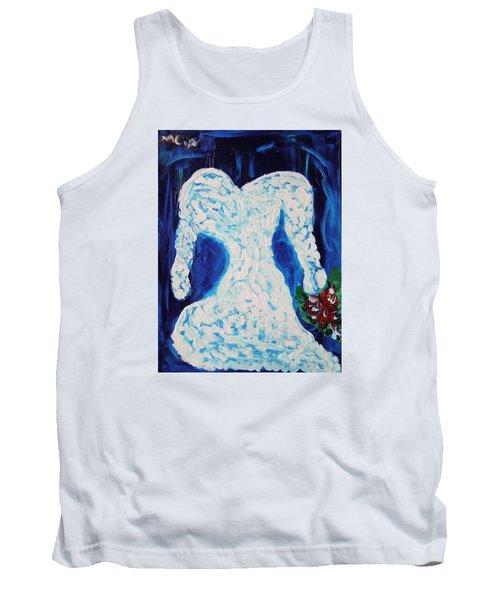 White Wedding Dress On Blue Tank Top