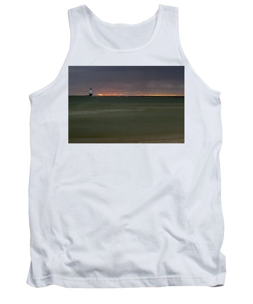 Wide View Of Lighthouse And Sunset Tank Top