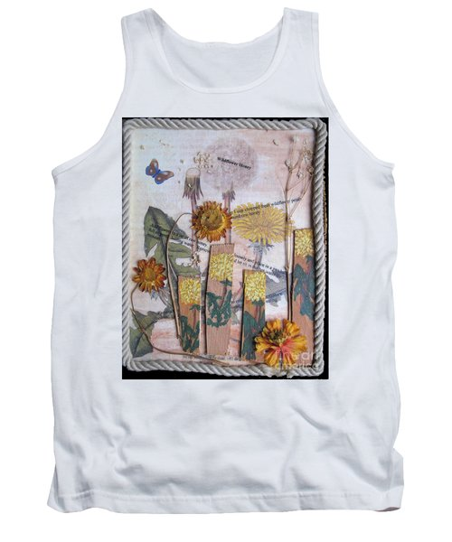 Tank Top featuring the mixed media Wildflower Honey by Sandy McIntire