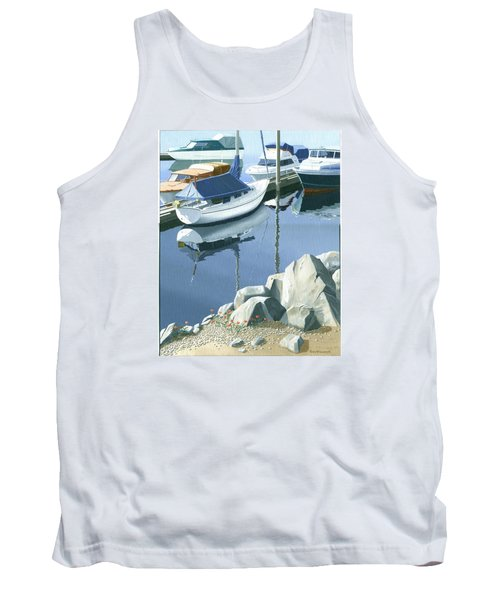 Wildflowers On The Breakwater Tank Top by Gary Giacomelli