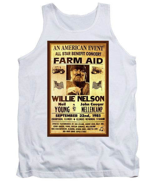Willie Nelson 1985 Vintage Farm Aid Poster Tank Top