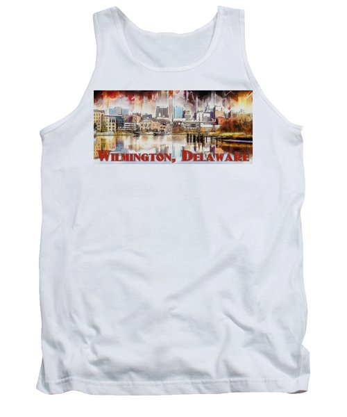 Tank Top featuring the painting Wilmington City Lights by Kai Saarto