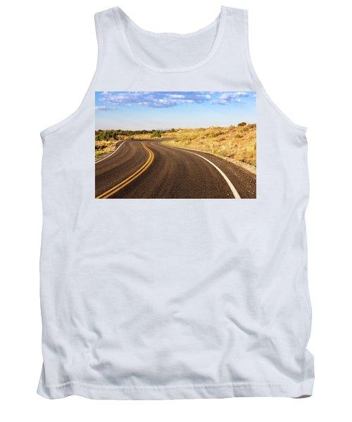 Winding Desert Road At Sunset Tank Top