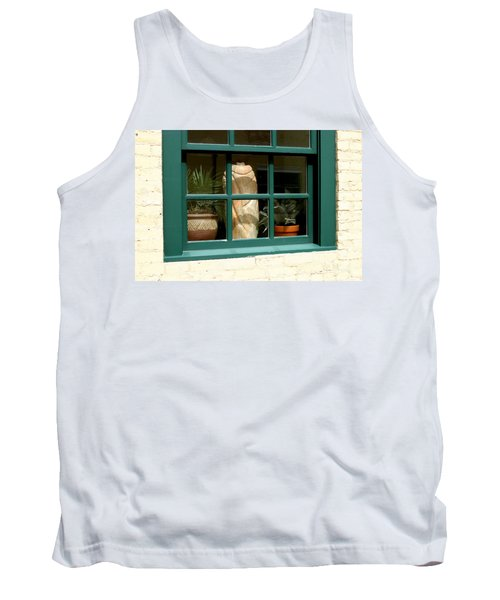 Tank Top featuring the photograph Window At Sanders Resturant by Steve Augustin